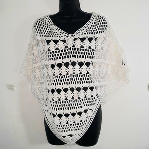 525 america linen blend crochet poncho XS/S